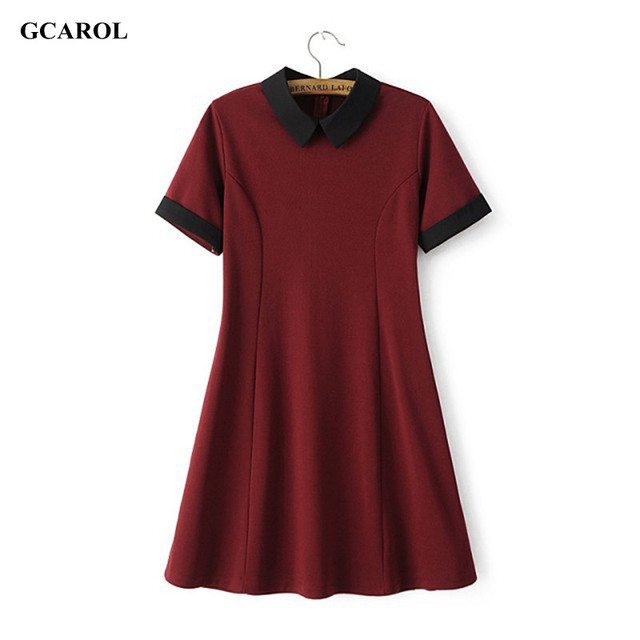 Gcarol mulheres novo peter pan collar vintage dress estiramento magro emendados dress preppy estilo fit e flare dress alta qualidade dress