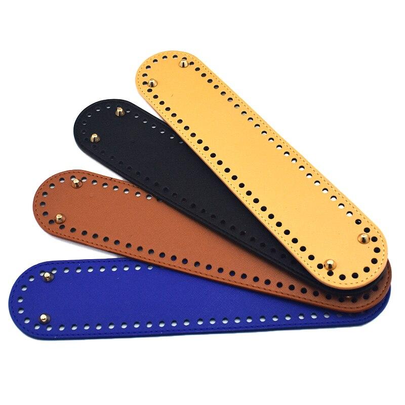 18x5cm Oval Mini Bottom For Knitting Bag PU Leather Bottom With Holes Women Handbag Handmade DIY Accessories KZBT001