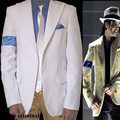 RARE Fashion MJ Michael Jackson SC BAD Smooth Criminal White Stripe Suit Full Set OutFit Men Kid Halloween Clothing1990s