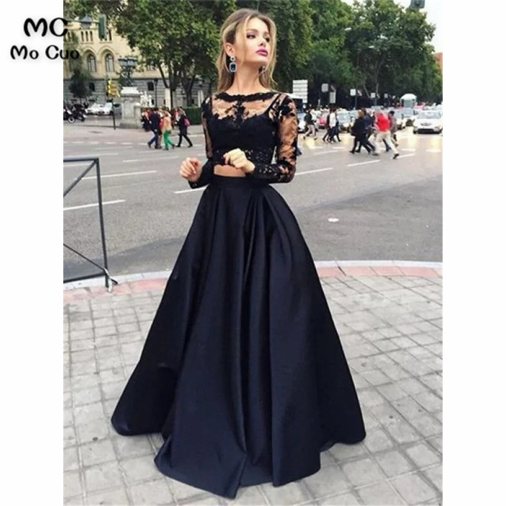 Sheer Lace Bateau   Prom     Dresses   Long Sleeves Floor-Length   dress   for graduation Satin Evening Party   Dress   for Women