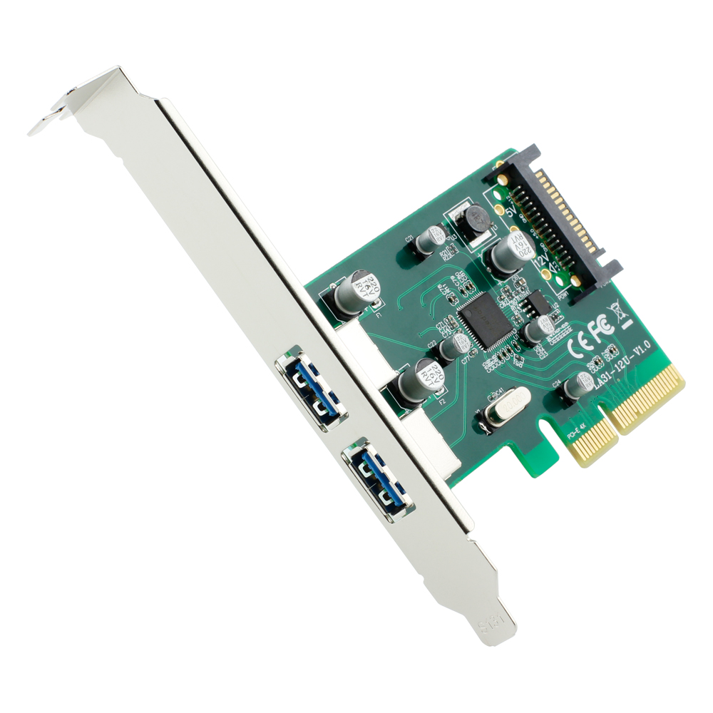 PCI-E 4X TO USB 3.1 Type-A Type A 2 port Female +SATA power supply Converter Adapter Card Add on Cards with Low profile bracket