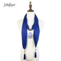 Jzhifiyer Fashion Pendant Jewelry Scarf Necklace Shaw Cotton Soft Scarves Gemstone Women Shawl Beaded Jewellery Beach