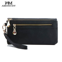 New Arrival Vintage Women Wallets Suede Women Clutch Wallets Nubuck Leather Cluth Ladies Coin Purse Female