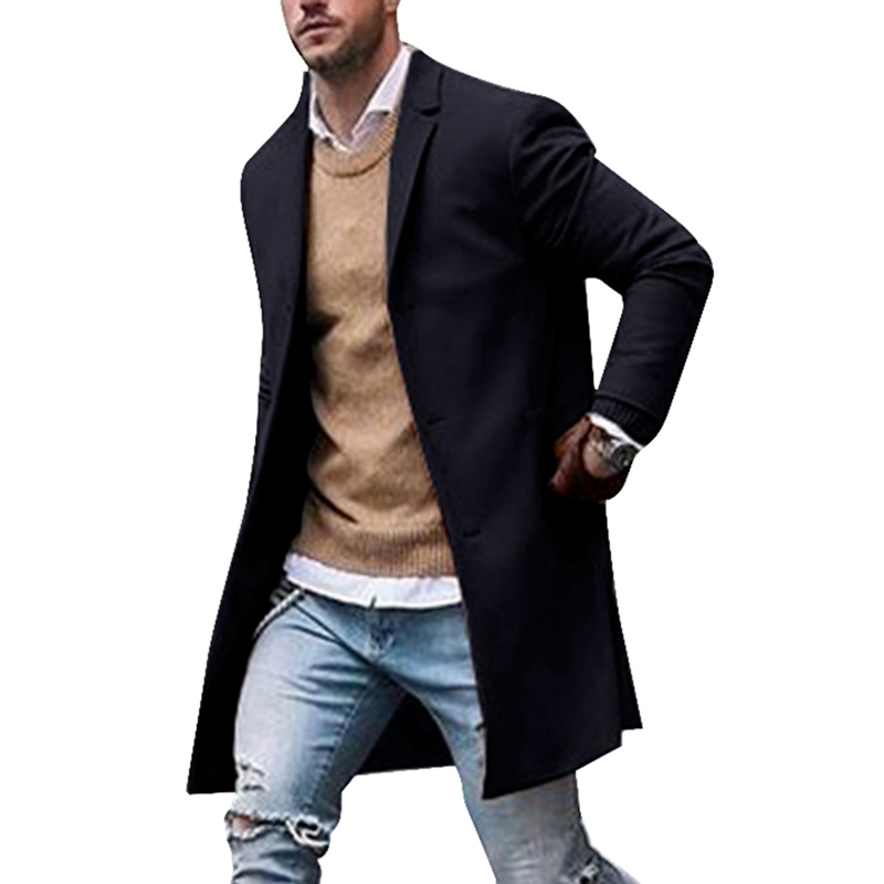 Litthing New Men Trench Coat Autumn Slim Fit Pea Wool Jacket Coat Men Long Coats Pure Color Fashion Overcoats Casaco Masculino(China)