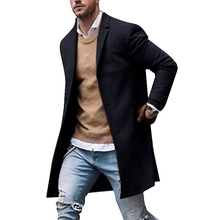 Litthing New Men Trench Coat Winter Slim Fit Pea Wool Coat Men Leisure Long Sections Coats Pure Color Casual Fashion Overcoats