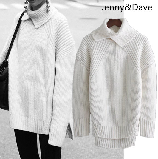 Jenny&Dave winter euramerican christmas sweater turtleneck Split fork Long sleeve Hollow out womens sweater