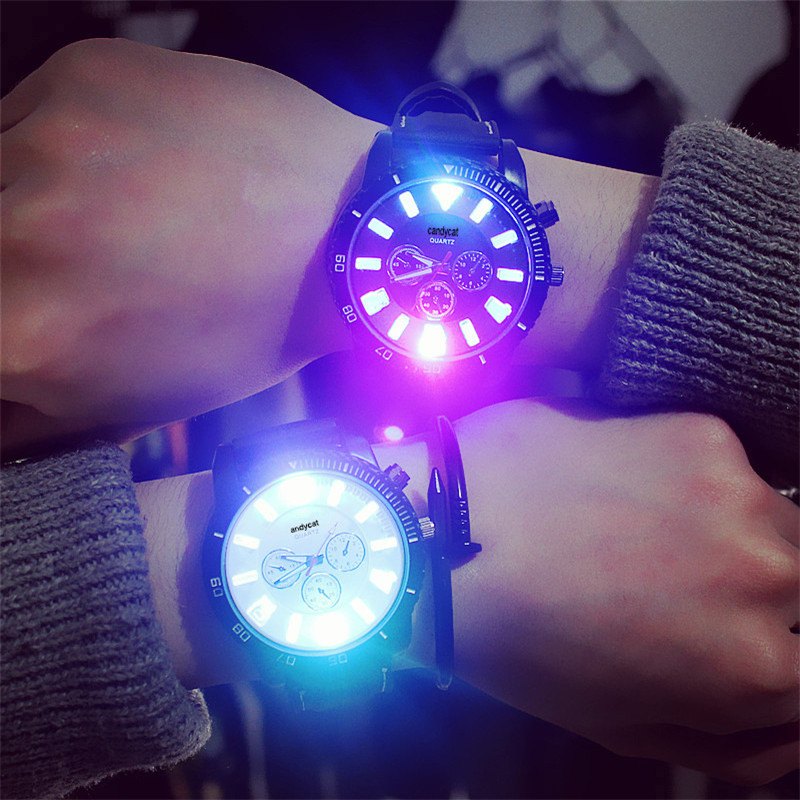 Luminous Lover's Watch Trendy Sport Men's Watches Black Fashion Women Quartz Wristwatch reloj mujer relogio masculino Pair Clock