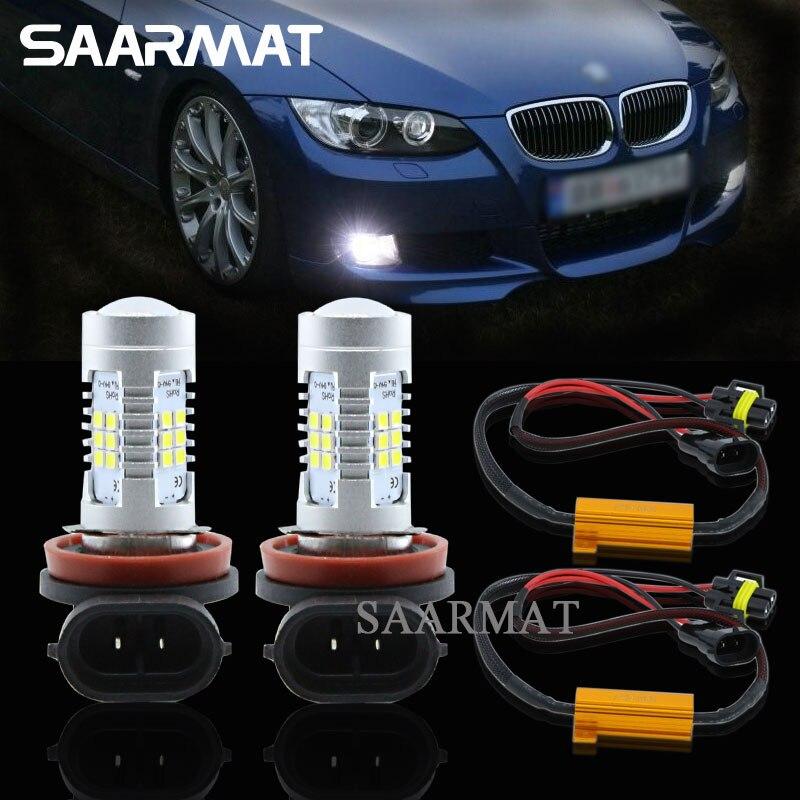 Пара светодиодных ламп 21-SMD H8 H9 H11, противотуманный светильник, дневные ходовые огни DRL + декодеры Canbus для BMW E71 X6 E70 X5 E83 F25 X3