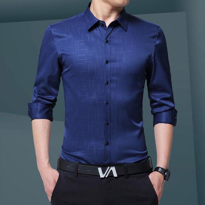 Lüks Artı Boyutu Erkek Gömlek 2017 Sonbahar Gelgit Flora Baskı - Erkek Giyim - Fotoğraf 3