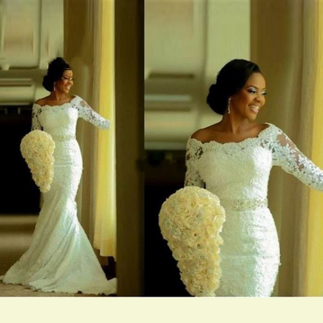 Mermaid African Wedding Dress Half Sleeves Vestido De Novia Plus Size Wedding Dresses With Belt 2016 Hot Sale  WM70