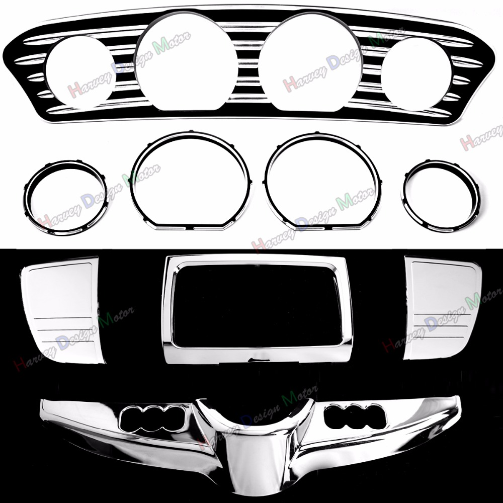 Глубокий порез Внутренний обтекатель тире и датчика отделкой и хромированной панели переключателя для Harley гастроли Электра улица скользить апартаменты flh/Т FLHX 2014-2017