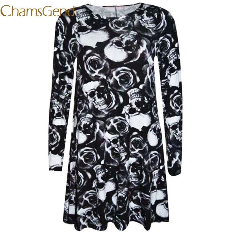 Chamsgend Women Casual 3D Skull Printed Long Sleeve Vestido Dress For Daily or Halloween <font><b>70912</b></font> Drop Shipping image