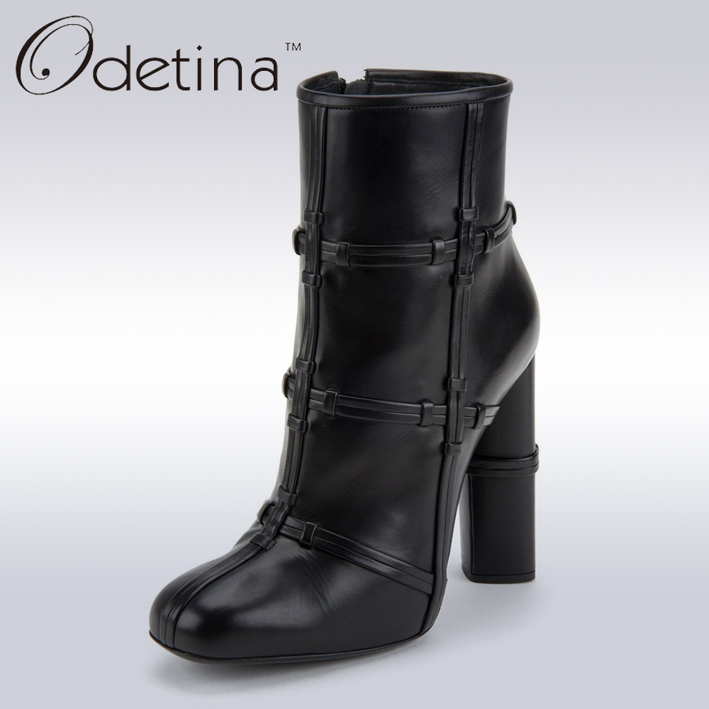 ФОТО Odetina 2017 Brand New Fashion Women Black Block High Heel Ankle Boot With Side Zipper Square Toe booties High Top Ankle Boots