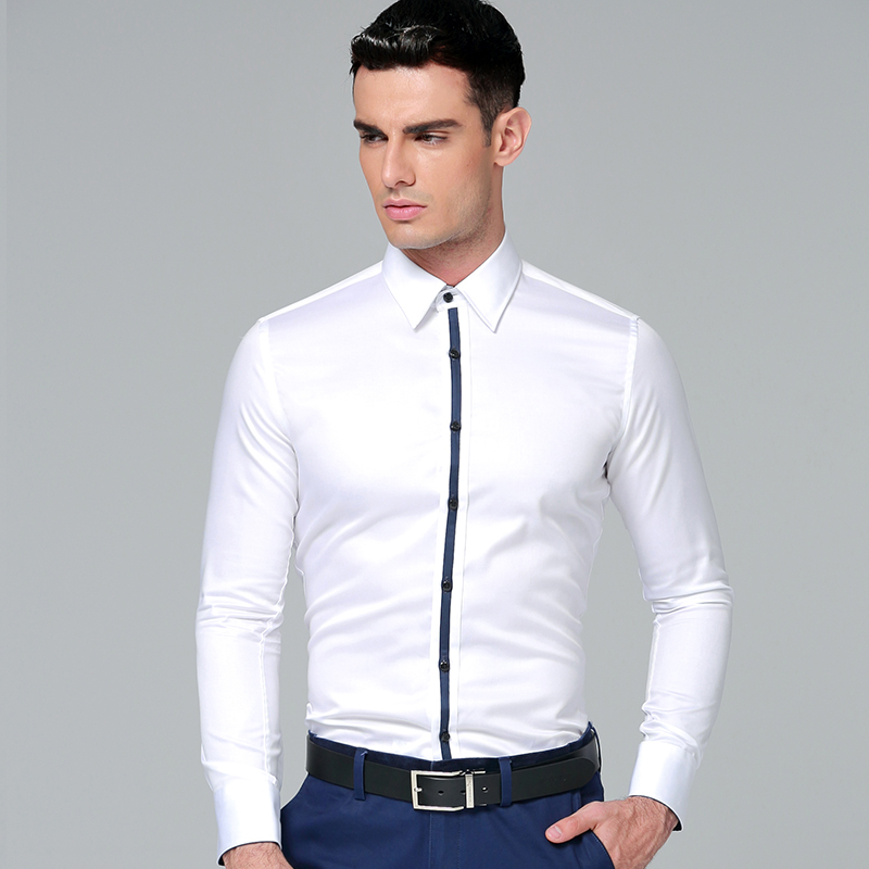 2018 Brand New Korean Style Men 39 S Business Shirts 100 Cotton Long Sleeves Men Dress Shirts