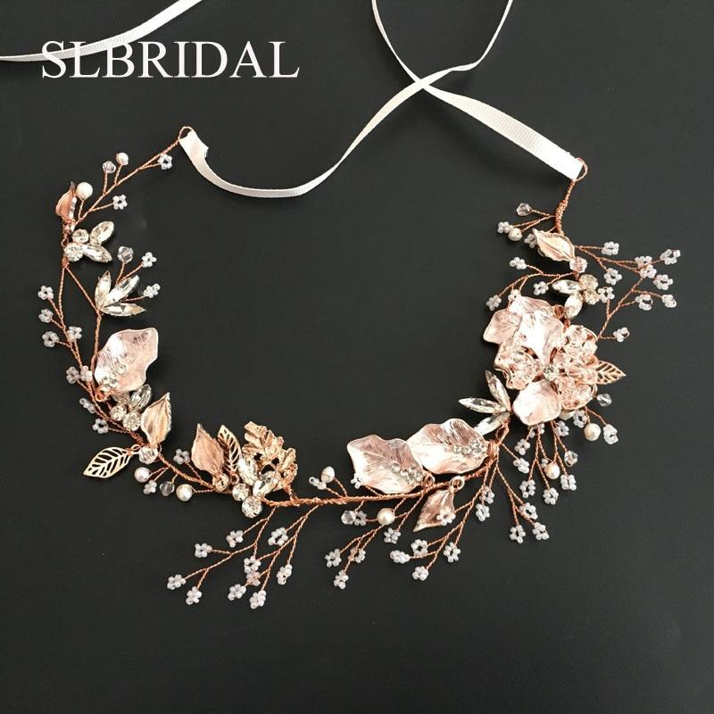 SLBRIDAL Rose Gold Crystal Rhinestone Natural Pearls Wedding Hair accessories Hairband Bridal Headband Bridesmaids Jewelry Women недорого