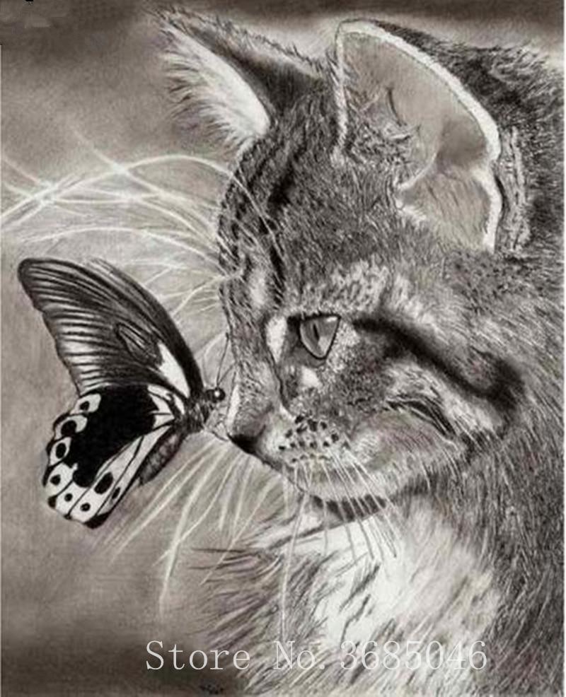 5d diy diamond mosaic Cat and butterfly diamond painting embroidery Rhinestone cross-stitch home decor hand made paint needlewor