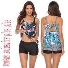 Plus Size Swimwear Women Swimsuit Tankini Set with Shorts Black 2019 Two Piece Split Swim Bathing Suit Female Beach High Waist split tankini set