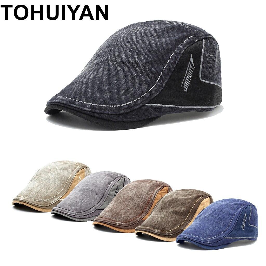 TOHUIYAN Vintage para hombre de algodón mono sombreros Primavera Verano pico  visera gorra Baker Boy de Boina plana marca Boina sombreros tapas 5099a6aaa37