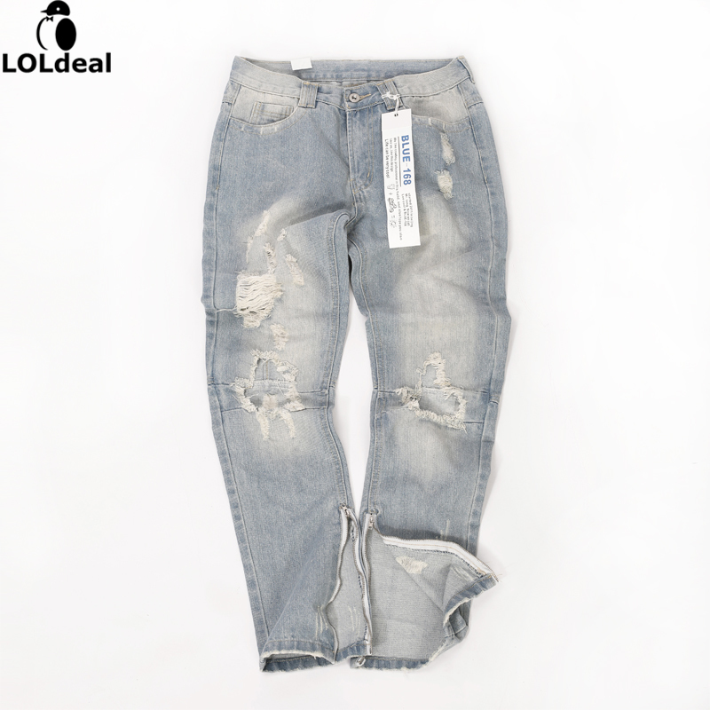 Men s designer rock star West tight fitting personality zipper hole jeans