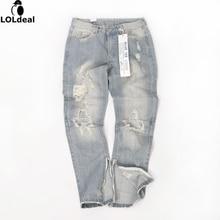 Мужская дизайнер rock star Запад облегающие личности молния отверстие джинсы