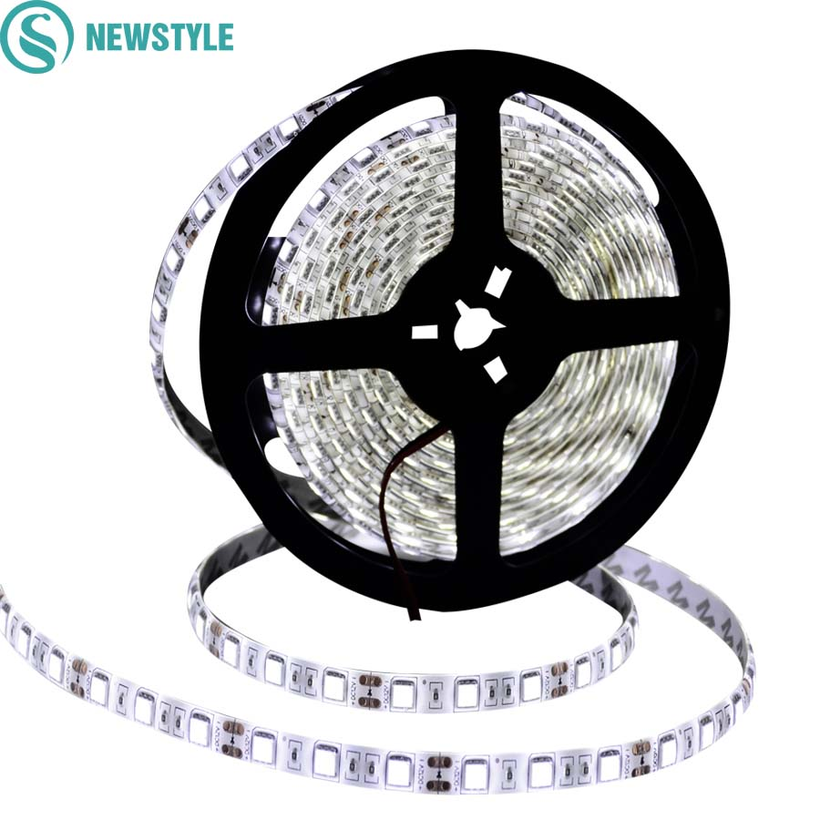 Newstyle DC12V LED Strip 5050 Waterproof/Non waterproof Flexible Led Strip Light 60Leds/m 5m/lot White Warm white RGB Tape недорого