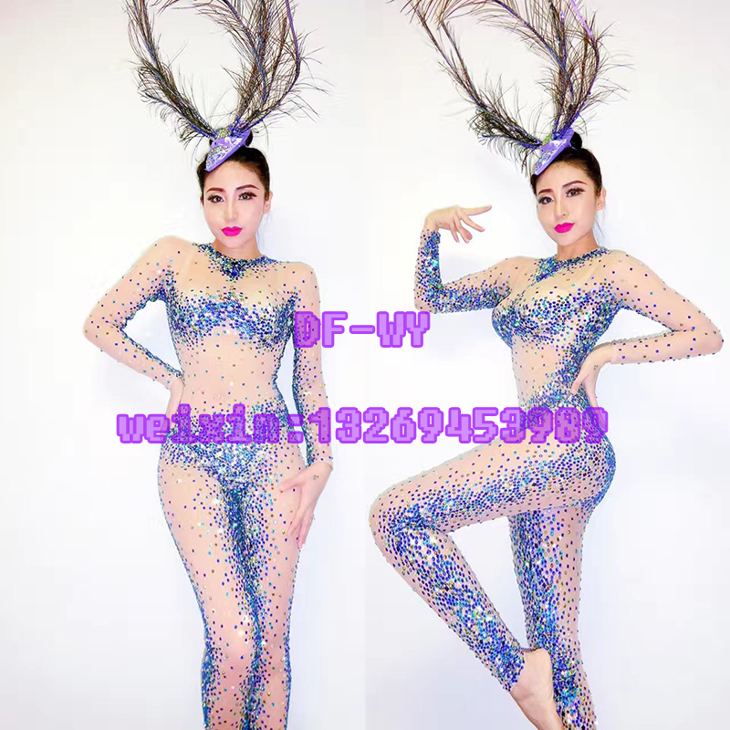 A new nightclub singer ds sexy shining diamond bar clothes portfolio for holiday party stage costumes