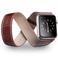 QIALINO Genuine Leather Strap For IWatch Stainless Pin Buckle Crocodile Watch Band For Apple Watch 42mm