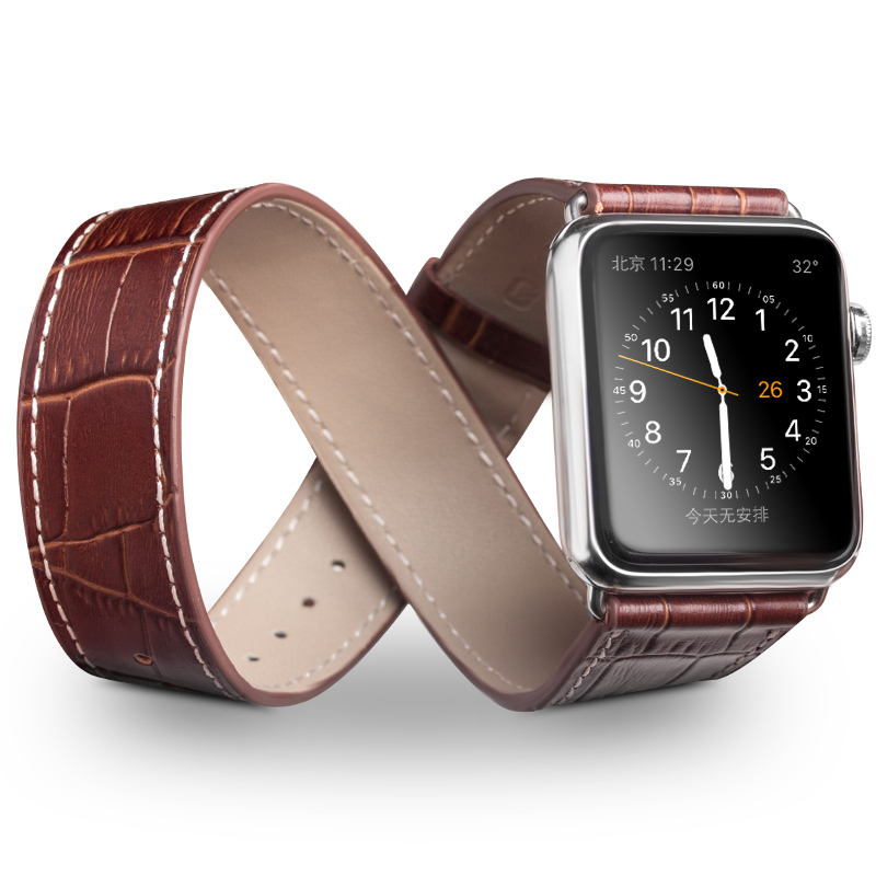 QIALINO Genuine Leather Strap for iWatch Stainless Pin Buckle Crocodile Watch Band for Apple watch 42mm 38mm Series 1 Series 2 kakapi crocodile skin genuine leather watchband with connector for apple watch 38mm series 2 series 1 pink
