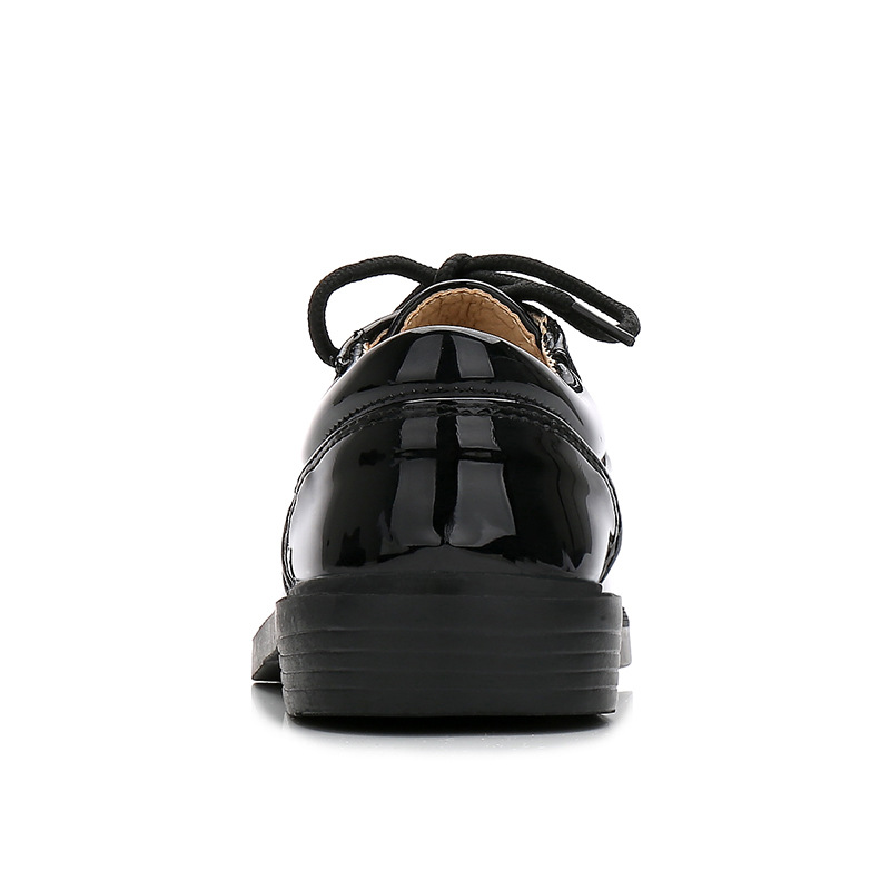 New Boys Dress Leather Shoes for Kids Patent Leather Black White Wedding School Oxford Shoes Children Flat Etiquette Rubber Sole