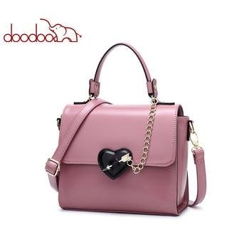 DOODOO Women Leather Handbag Tote Bag Female Shoulder Crossbody Bags Ladies Artificial Leather Top-handle Bag Chain Heart-shaped tote bag