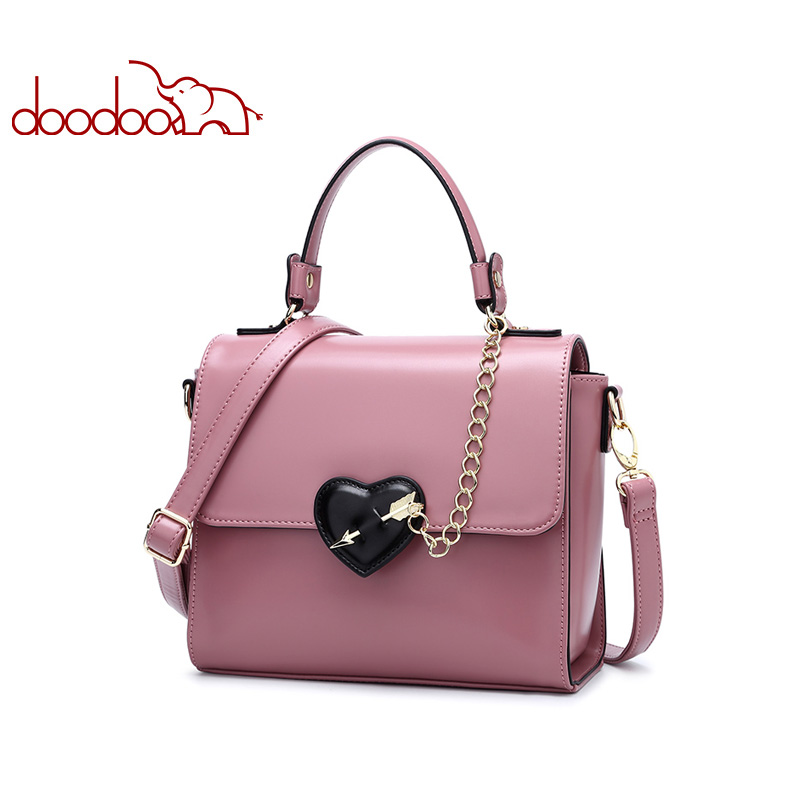цены DOODOO Women Leather Handbag Tote Bag Female Shoulder Crossbody Bags Ladies Artificial Leather Top-handle Bag Chain Heart-shaped