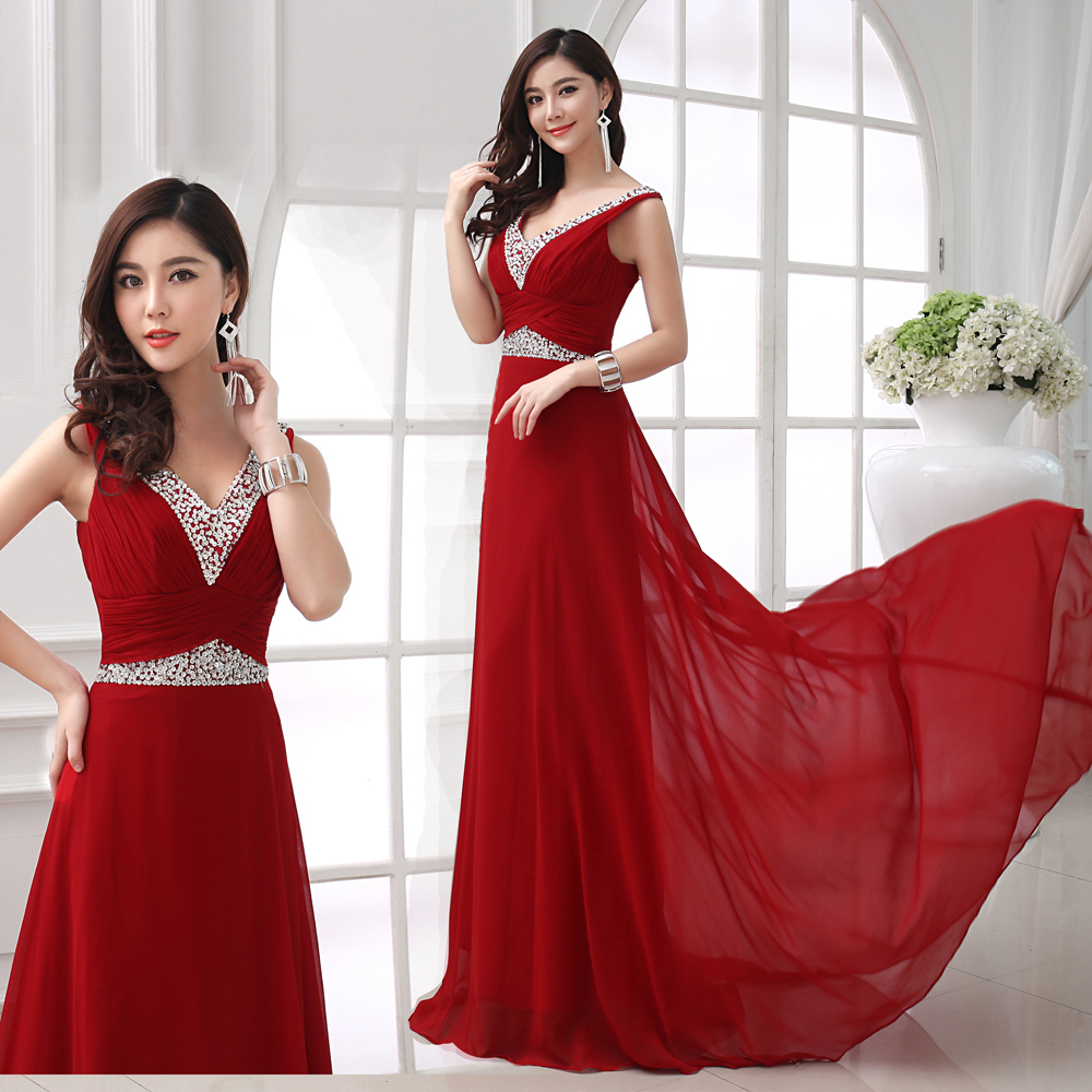 Dinner Party Dress Part - 20: Red Bride Evening Dress 2016 Married Fashion Prom Dress Long Sexy V Neck  Design Dinner Party Costume Mermaid Crystal Dress-in Evening Dresses From  Weddings ...