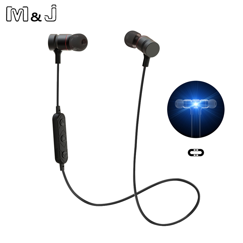 M&J Comfortable Wireless Bluetooth Earphones Magnetic Stereo Noise Reduction Sport Running Earbuds With Mic Earpiece For Phone
