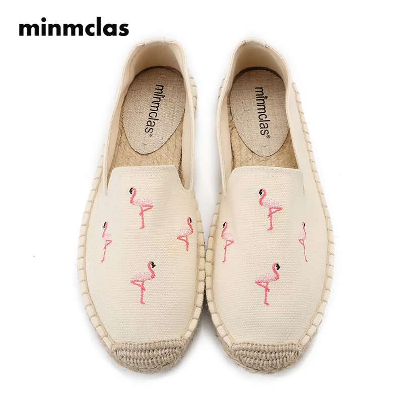 MInmclas Slippers Embroidery Flamingos Comfortable Ladies Womens Casual Espadrilles Shoes Breathable Flax Hemp Canvas for Girls