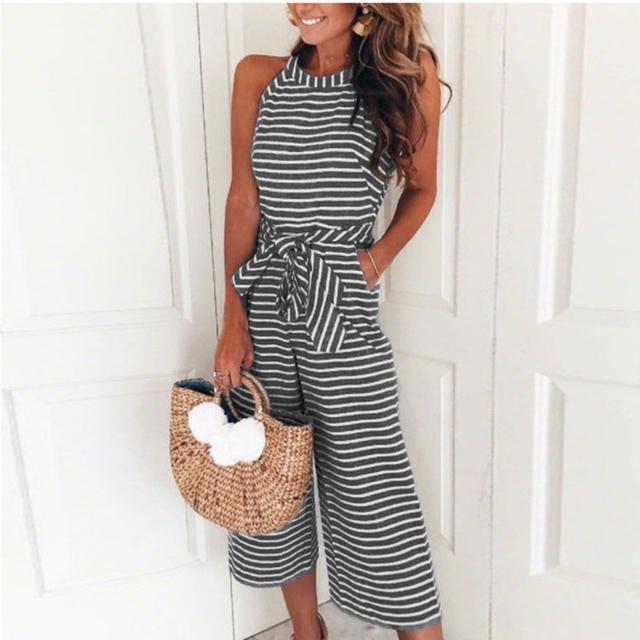 96cd043826 2018 New Jumpsuit Women Striped Clubwear O-Neck Playsuit Sleeveless Jumper  Bodycon Party Jumpsuit Female Summer Ladies Romper