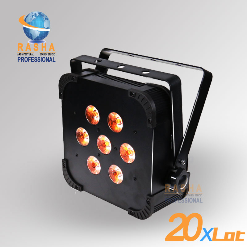 20X LOT Rasha Quad 7pcs*10W RGBA/RGBW 4in1 DMX512 LED Flat Par Light Wireless LED Par Can For Disco Stage Party 8x lot hot rasha quad 7 10w rgba rgbw 4in1 dmx512 led flat par light non wireless led par can for stage dj club party page 3