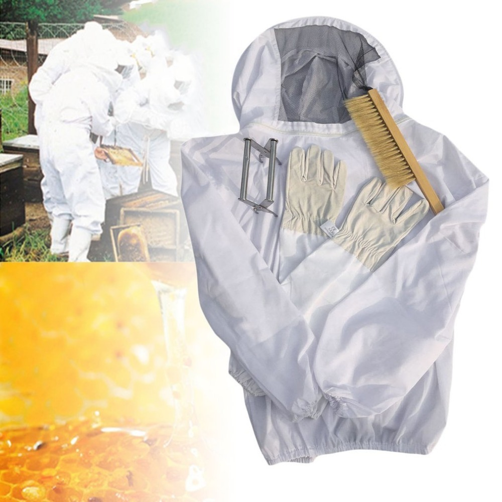 4PCS/SET Beekeeping Suit Tool Set Breathable White Beekeeping Jacket + Bee Brush + Lifter + Gloves Set Equipment beekeeping for dummies