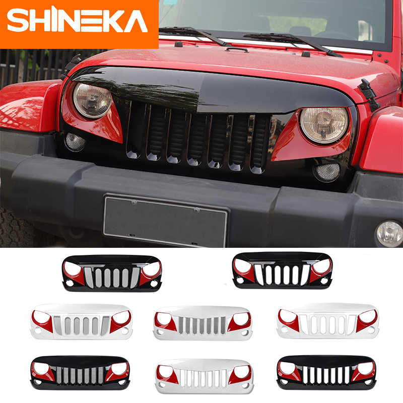 SHINEKA ABS Car Grille Grill Cover Decoration Inserts Exterior Accessories for Jeep Wrangler JK 2007-2017 Car Styling 4pcs set 4door car chrome abs door storage cover trim frame decoration fits for jeep wrangler jk 2007 2016 car styling covers