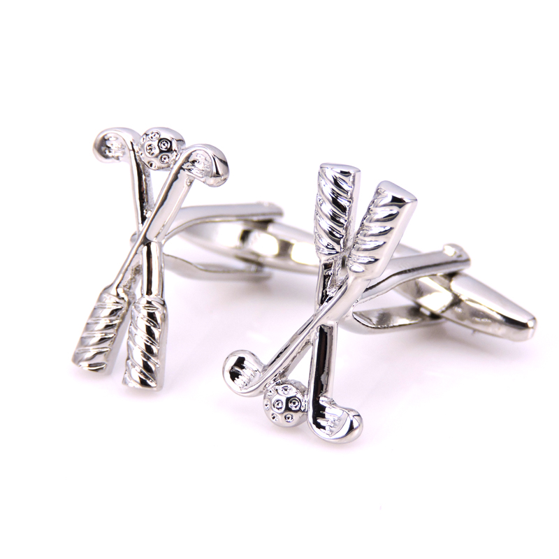HYX Jewellery Silver Golf Brand Cufflinks French shirts Men Wedding Party Cuff Links Movie Jewelry image
