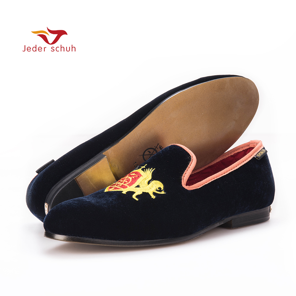 2017 navy blue outsole gold velvet shoes, slippers smoking men flat shoe loafers british fashion style size US6 14 Free Shipping