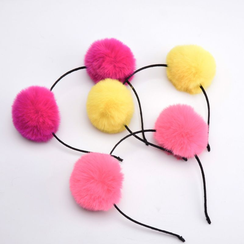 Child Kids Cute Fluffy Big Pompom Ball Headband Sweet Candy Color Hair Tie Ponytail Holder GirlsParty Costume Headpiece 2Pcs Set in Women 39 s Hair Accessories from Apparel Accessories
