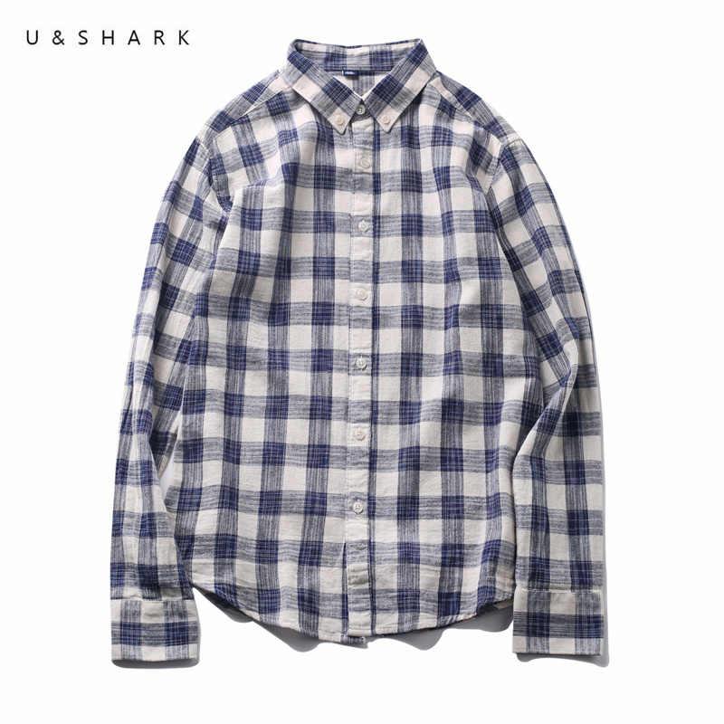 U & SHARK 2018 Осенняя Повседневная синяя мужская клетчатая рубашка, рубашка с длинным рукавом, мужские рубашки, приталенная рубашка из 100% хлопка, Клетчатая Мужская рубашка