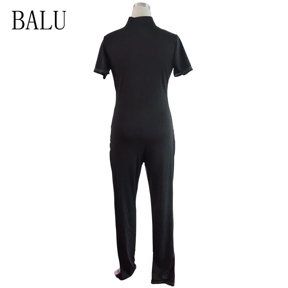 BALU Female Casual Jumpsuits Summer Overalls Short Sleeve Front Zipper Bodycon Jumpsuit Color Block Long Rompers Womens Jumpsuit