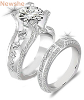 2 3 Ct Round Cut CZ Genuine 925 Sterling Silver Wedding Ring Sets Engagement Band Classic