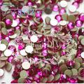 Envío Gratis 1440 unids SS12 3-3.2mm Fucsia Hotfix no FlatBack Piedras, Cristal Glitter Glue-sobre sueltos Cristales Nail Art Piedras