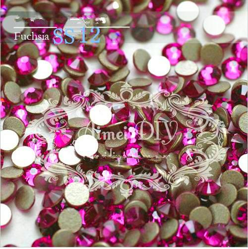 Free Shipping 1440pcs SS12 3-3.2mm Fuchsia Non HotFix FlatBack Rhinestones,Glass Glitter Glue-on Loose Nail Art Crystals Stones ss12 3 2mm aqua marine nail rhinestones 1440pcs bag non hotfix flatback crystals glass strass glitters for nail art glue stone