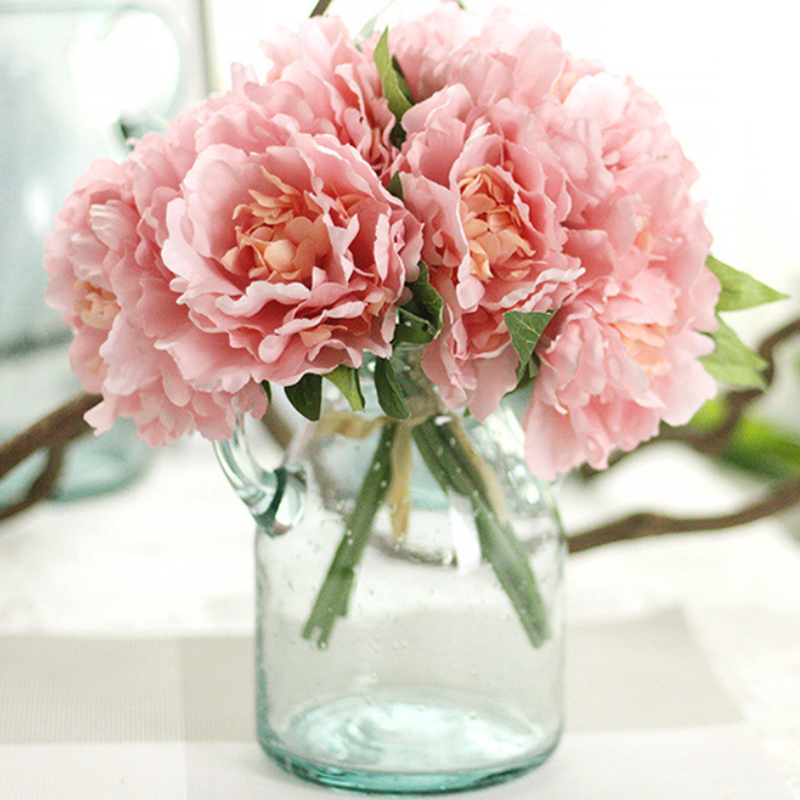 5 Heads Silk flower wedding bouquet peony dahlias Artificial flowers ...