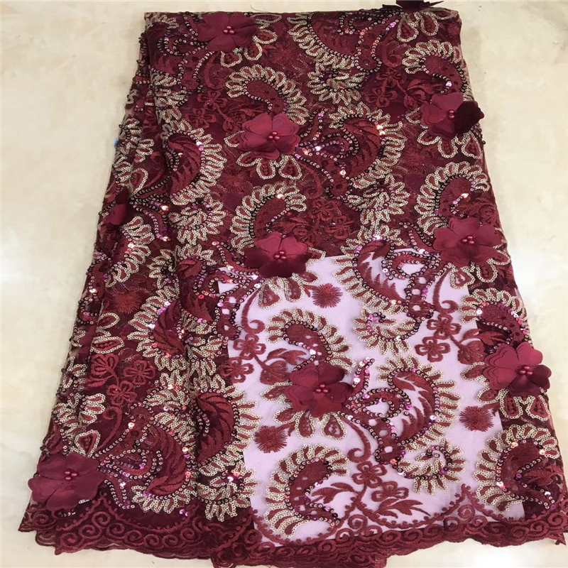 Tollola New Design Nigerian Lace Fabrics Net 3D Flowers African Lace Fabric Wine Guipure French Tulle Lace Fabrics High Quality-in Lace from Home & Garden    1