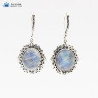 PJC Natural Gemstone 10 12mm Moonstone 925 Sterling Silver Drop Earrings
