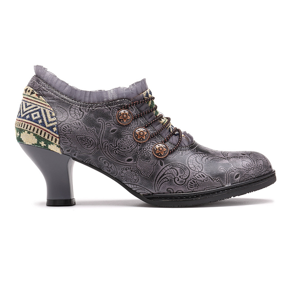 Wine Glasses Women Pumps European Vintage Hand Genuine Leather Shoes Embossed Stitching Spanish Style Four Seasons Women's Shoes (6)